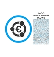 Euro Collaboration Rounded Icon with 1000 Bonus vector image