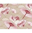 fan unbrella traditional geometric kimono pattern vector image vector image