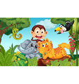 Five animals at the forest vector image vector image