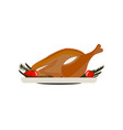 flat of fried turkey with tomatoes and branches vector image