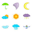 flight weather icons set cartoon style vector image vector image