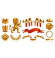 gold crown king laurel wreath fanfare lion vector image vector image