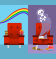 good and bad cinema seat vector image vector image