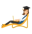 Graduate lying in chaise lounge with laptop vector image vector image