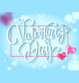 happy valentines day lettering with pink hearts vector image