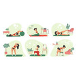 home exercises cartoon woman doing fitness and vector image