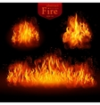 Hot fire realistic elements set for design vector image vector image