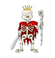 human skeleton warrior standing with sword and vector image