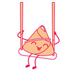 kawaii happy rice dumpling in swing play cartoon vector image