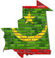 mauritania map on a brick wall vector image vector image