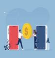 mobile money transfer concept-internet banking vector image vector image