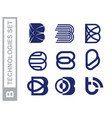 modern professional set logos b technology in blue vector image