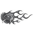 monochromatic angry rooster with flames vector image