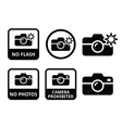 No photos no cameras no flash icons vector image vector image
