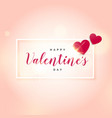 pink background with two hearts for valentines day vector image vector image