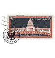 postage stamp with image us capitol vector image vector image