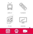 Retro TV PC case and monitor icons vector image vector image