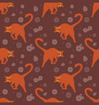 seamless pattern funny orange cats vector image