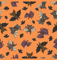 seamless pattern with bat in the different posing vector image vector image