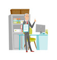 senior businessman with clipboard giving thumb up vector image vector image