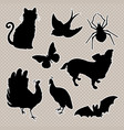 set animals silhouettes cat bird spider vector image vector image
