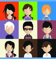 set colorful avatars characters vector image