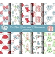 set of 10 seamless Christmas and New year patterns vector image vector image