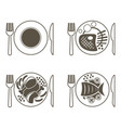 set of main course icons for a restaurant fish vector image