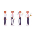 set of male clerk in standing poses rear front vector image