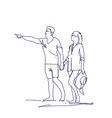 sketch couple walking holding hands doodle man and vector image vector image