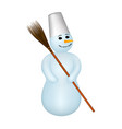 snowman with a broom vector image