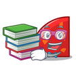 student with book quadrant mascot cartoon style vector image vector image
