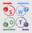 swot analysis presentation with multicolored vector image vector image