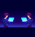 teenage boy using computer app back view vector image