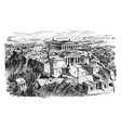 the acropolis of athens - restoration of the vector image vector image
