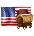 The USA flag at the back of a wagon vector image vector image