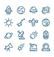 thin line space icons set vector image vector image