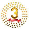 three-year anniversary celebration logo stars