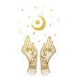 two golden female hands and a crescent moon with vector image vector image