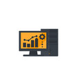 workstation computer icon on white vector image vector image
