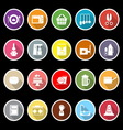 Home kitchen icons with long shadow vector image