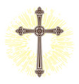 silhouette of ornate cross with sun lights happy vector image