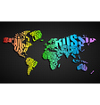 Colorful World Map in Typography vector image