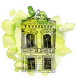 house at watercolor background vector image