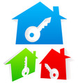 3d houses with keyhole real estate home security vector image vector image