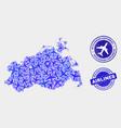 airplane mosaic mecklenburg-vorpommern land vector image vector image