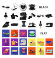 atelier and equipment flat icons in set collection vector image