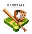 baseball championship flyer 3d bat glove vector image