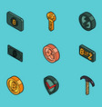 blockchain flat outline isometric icons vector image vector image