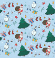 blue christmas pattern with color doodle elements vector image